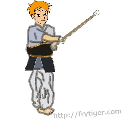 剣道の素振りは背筋を鍛えます。