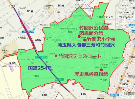 三芳町竹間沢地形図