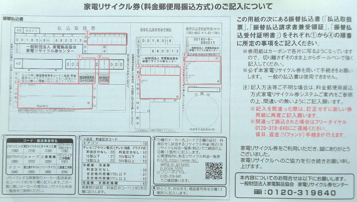 家電リサイクル券の書き方(郵便局振込方式)はたった4項目