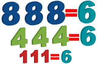 同じ数字を3個使って6を作る数字あそび